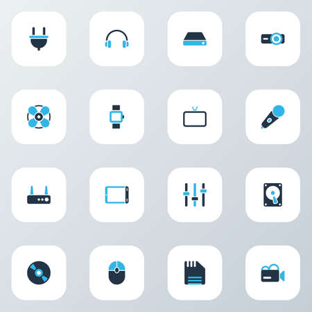 Technology icons colored set with smart watch, fan, router and other click  elements. Isolated  illustration technology icons.