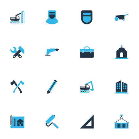 Industry icons colored set with drilling machine, case, welder and other welder mask