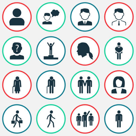 Person icons set with employee, leader, job woman and other feeling   elements. Isolated vector illustration person icons.