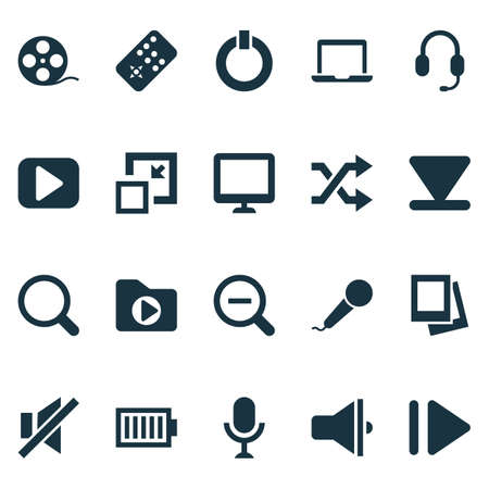 Music icons set with zoom out, begin, laptop and other media folder   elements. Isolated vector illustration music icons.