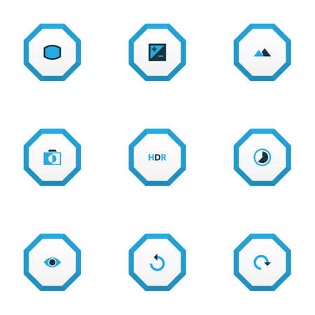 Picture icons colored set with filter, exposure, reload and other refresh   elements. Isolated  illustration picture icons. 스톡 콘텐츠