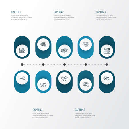 Engine icons line style set with marketing analytics, marketing research, copywriting and other idea  elements. Isolated vector illustration engine icons. Stockfoto