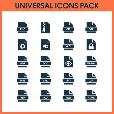 Types icons set with script, text, format and other configuration elements. Isolated vector illustration types icons.