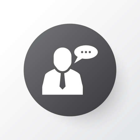 Employee speech icon symbol. Premium quality isolated talking worker element in trendy style. Illustration