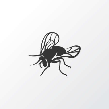 Symbol ikonę muchy. Element na białym tle Mucha domowa najwyższej jakości w modnym stylu. Ilustracje wektorowe