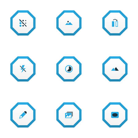 Photo icons colored set with gallery, landscape, timelapse blur off   elements. Isolated vector illustration photo icons. 일러스트