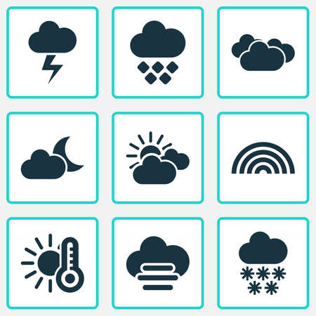 Weather icons set with hailstone, sunset, crescent and other colors   elements. Isolated vector illustration weather icons.