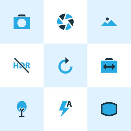 Photo icons colored set with landscape, refresh right, shutter focus  elements. Isolated vector illustration photo icons.