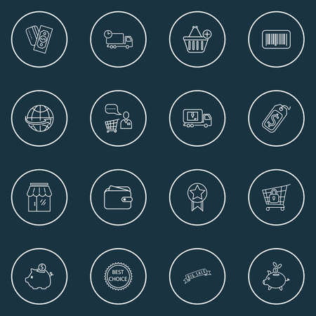 Commerce icons line style set with savings, add to cart, storefront and other identification