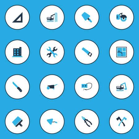 Industrieikonen farbiges Set mit Kittmesser, Axt, Baggerfahrzeug und anderen scharfen Elementen. Isolierte Vektor-Illustration-Industrie-Icons. Vektorgrafik