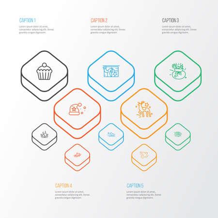 Neue Icons mit Weihnachtsmütze, Rennschlittschuhen, Rentieren und anderen Eisschuhelementen. Isolierte Vektor-Illustration neue Symbole.