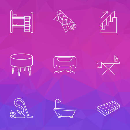 Interior icons line style set with air conditioner, ottoman, double decker bed and other bathroom