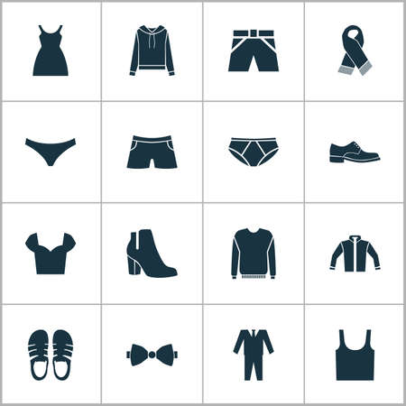 Dress icons set with sweatshirt, jacket, male footwear and other jumper