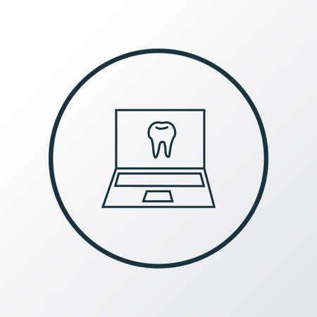 Online dentist icon line symbol. Premium quality isolated laptop element in trendy style.