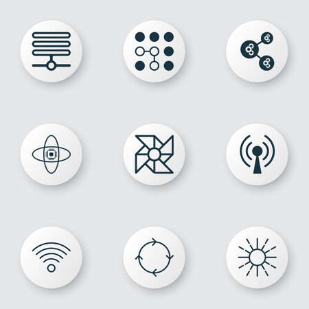 Machine icons set with loop algorithm, brightness regulation, computer cooler and other wireless communications    elements. Isolated vector illustration machine icons. Illusztráció