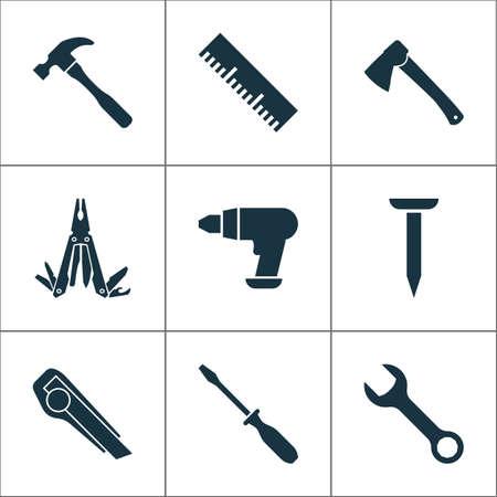 Zestaw ikon narzędzi z nożem, narzędziem wielofunkcyjnym, pomiarem i innymi elementami linijki. Izolowane wektor ilustracja narzędzia ikony.