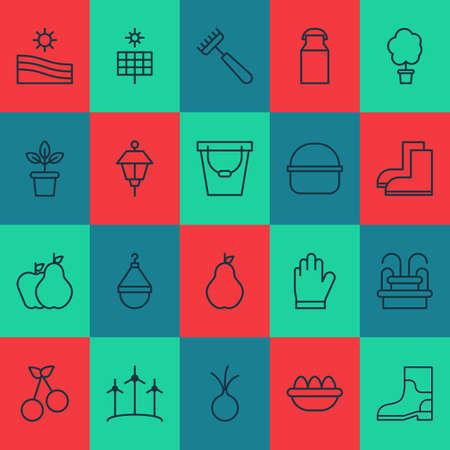 Gardening icons set with park lamp, basket, bucket and other jug elements. Isolated vector illustration gardening icons. Vektoros illusztráció