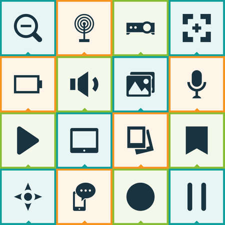 Media icons set with controller, tablet, bookmark and other target