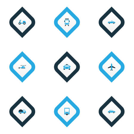 Transport icons colored set with bogie, moped, car and other cabriolet  elements. Isolated vector illustration transport icons.