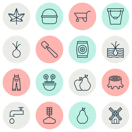 Gardening icons set with onion, pushcart, overalls and other shovel elements. Isolated vector illustration gardening icons.