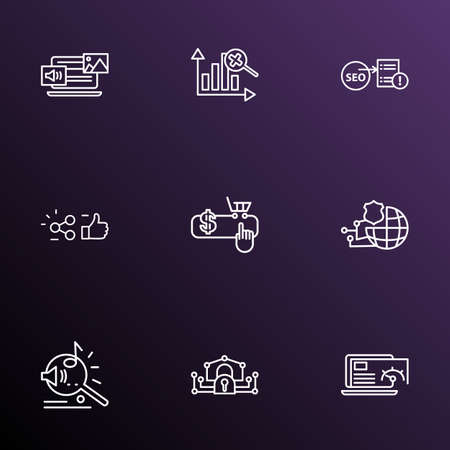 Search icons line style set with mixed content, network protection, marketing analytics and other PPC