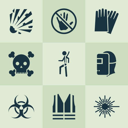 Protection icons set with explosive, caution, hand protection nuclear  elements. Isolated vector illustration protection icons.