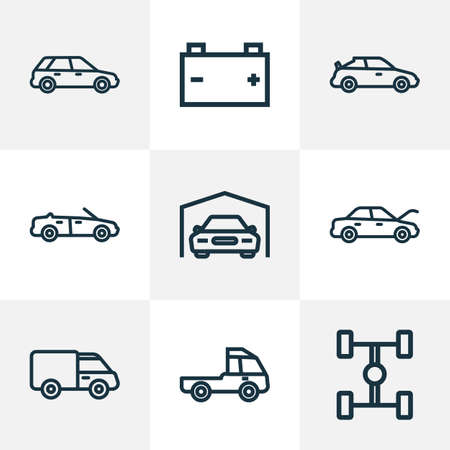 Car icons line style set with wheelbase, battery, cabriolet and other truck 