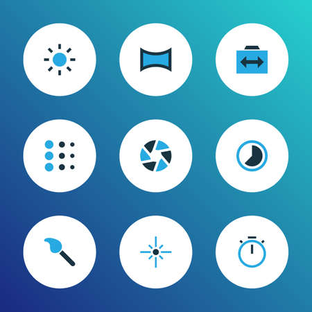 Picture icons colored set with timer, switch cam, flare and other circle
