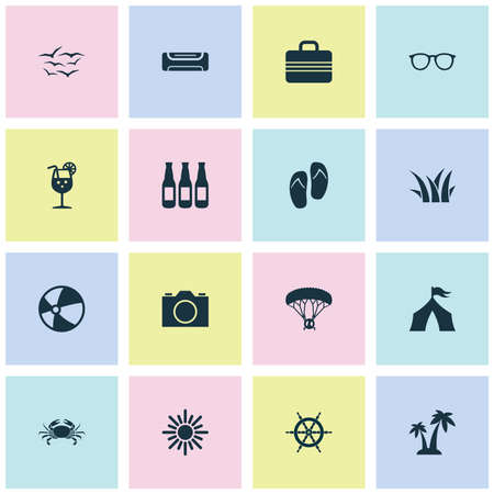 Sun icons set with air conditioning, tent, ball and other wall cooler   elements. Isolated vector illustration sun icons.