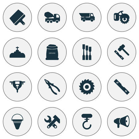 Industrial icons set with chisel, truck, auger and other crane