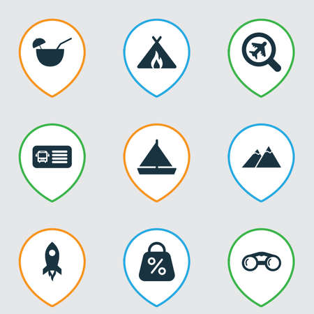 Tourism icons set with rocket, find an airplane, tent with fire and other shuttle