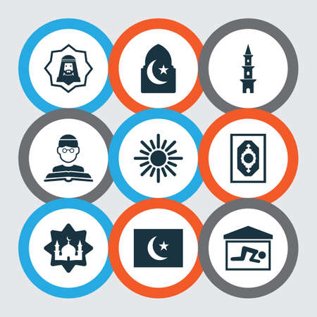 Religion icons set with flag, imam, masjid and other mosque elements. Isolated vector illustration religion icons.