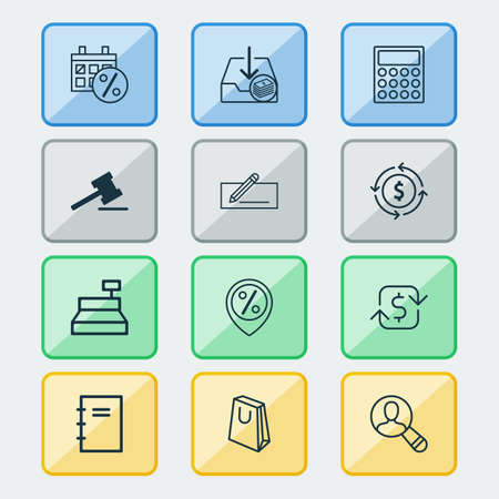 Commerce icons set with auction, microcomputer, find audience and other black friday  elements. Isolated vector illustration commerce icons. Illusztráció