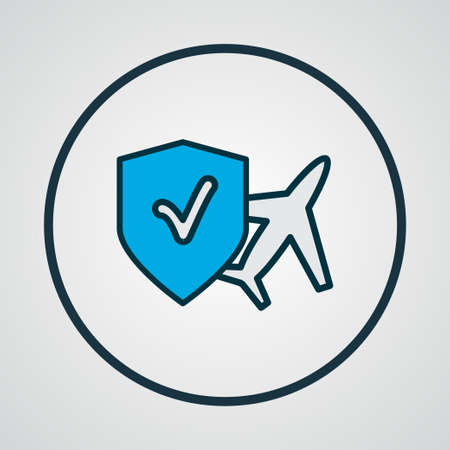 Travel insurance icon colored line symbol. Premium quality isolated plane assurance element in trendy style.