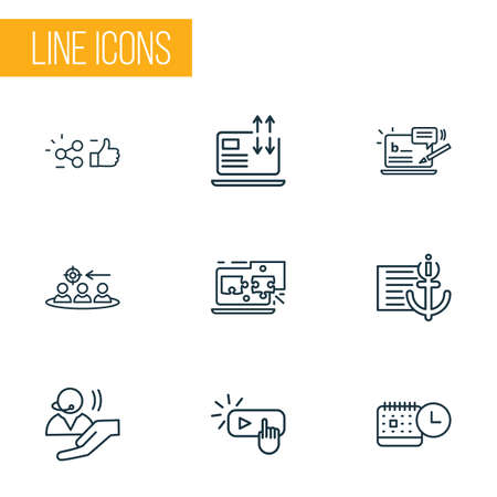 Optimization icons line style set with related content, traffic conversion, anchor text and other support elements. Isolated illustration optimization icons. Foto de archivo