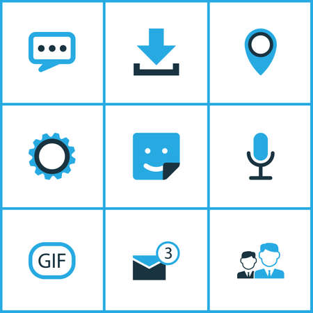 Internet icons colored set with pinpoint, inbox, smile and other animation elements. Isolated illustration internet icons.