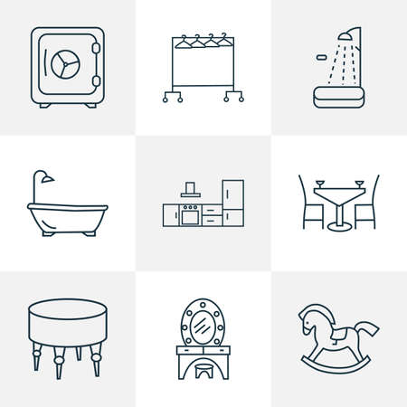 Interior icons line style set with clothing rock, kitchen set, safe and other strongbox