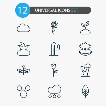 Harmony icons set with foliage, raindrop, shrub and other sunflower