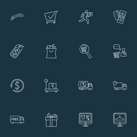 E-commerce icons line style set with shopping assistant, delivery weighing, delivery truck and other courier elements. Isolated vector illustration e-commerce icons.