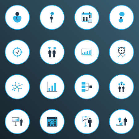 Authority icons colored set with idea discussions, idea brainstorming, connection network and other statistics elements. Isolated vector illustration authority icons. Vecteurs