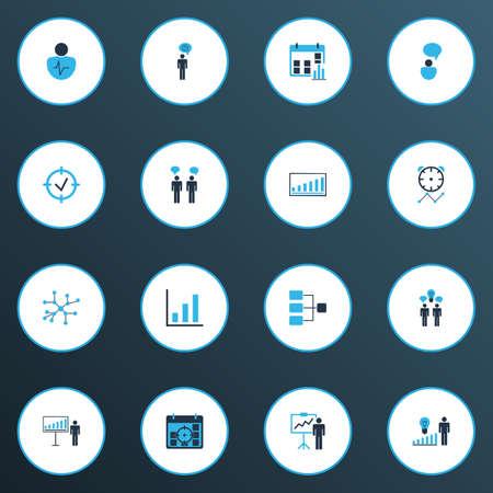 Icônes d'autorité colorées avec discussions d'idées, brainstorming d'idées, réseau de connexion et autres éléments statistiques. Icônes d'autorité d'illustration vectorielle isolée. Vecteurs
