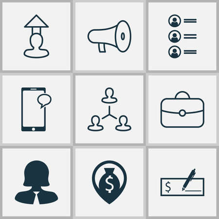 Management icons set with handbag, career prospects, dollar bank check messaging elements. Isolated vector illustration management icons.