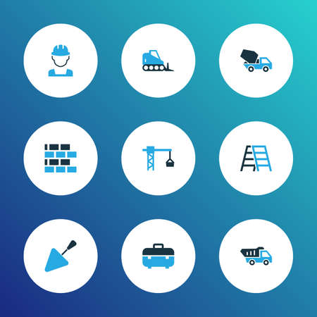 Building icons colored set with tipper, toolbox, trowel and other cement blender   elements. Isolated vector illustration building icons.