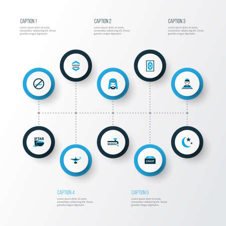Set di icone colorate per le vacanze con kareem, zakat, non fumare e altri elementi nacht. Icone di vacanza illustrazione vettoriale isolato.