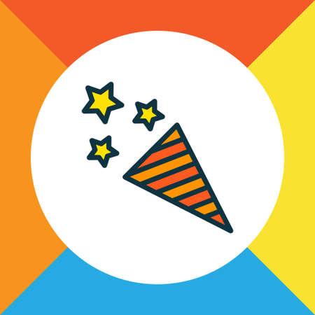 Firecracker icon colored line symbol. Premium quality isolated confetti element in trendy style.