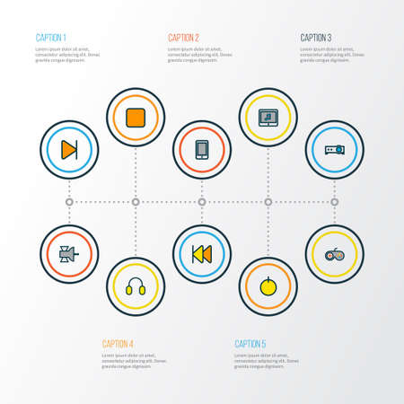 Multimedia icons colored line set with start, headphone, projector and other earmuff elements. Isolated vector illustration multimedia icons.