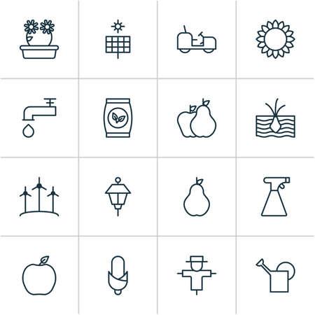 Gardening icons set with bailer, corn, soil and other helianthus elements. Isolated vector illustration gardening icons. Vektoros illusztráció