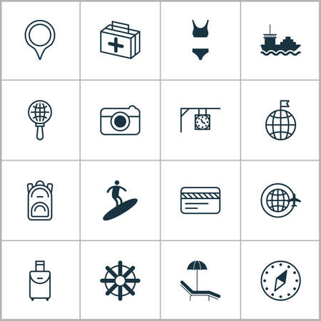 Tourism icons set with visited country, tanker, travel bag and other bank card   elements. Isolated vector illustration tourism icons.