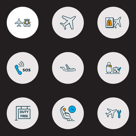 Traveling icons colored line set with hostess, luggage check, buy on board and other aircraft  elements. Isolated vector illustration traveling icons.