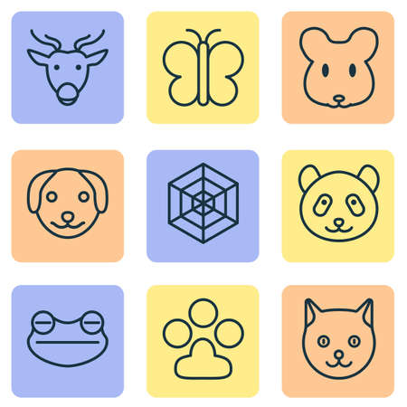 Nature icons set with cat, deer, mouse and other bear   elements. Isolated vector illustration nature icons.